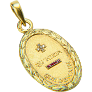 French love pendant signed A. Augis 18 k yellow gold diamond ruby circa 1920 s