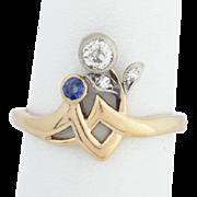 Antique Art Nouveau ring diamond sapphire 18 k yellow gold silver circa 1900 s
