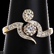 Antique Victorian / Art nouveau diamond ring 18 k yellow gold platinum circa 1900 s