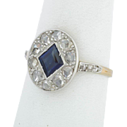 Antique Edwardian sapphire and diamonds ring 18 k yellow gold circa 1910 s