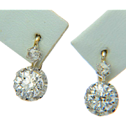 Antique 1.55 cwt diamond drop earrings 18 k yellow gold and platinum circa 1900 s