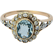 Antique Victorian diamond and Aquamarine ring 18 k yellow gold circa 1890 s