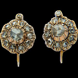 Antique Late Georgian diamond cluster earrings 18 k yellow gold circa 1830 s