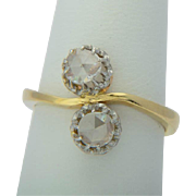 "Antique diamond ring ""You and Me"" 18 k yellow gold and platinum Victorian / Art Nouveau circa 1900 s"