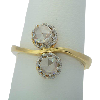 """Antique diamond ring """"You and Me"""" 18 k yellow gold and platinum Victorian / Art Nouveau circa 1900 s"""