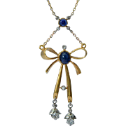 Antique necklace diamonds natural sapphires 18 k yellow gold platinum circa 1915