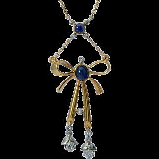 Antique necklace diamonds natural sapphires 18 k yellow gold platinum circa 1915
