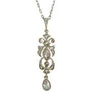 Antique diamond pendant 18 k yellow gold and platinum top Edwardian circa 1910 s
