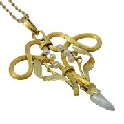 Antique Art Nouveau French pendant natural pearls 18 k yellow gold circa 1900 with it`s chain