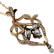 Antique pendant diamonds pearls 14 k rose gold Art Nouveau circa 1890