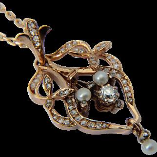 Antique pendant diamonds pearls 14 k rose gold Art Nouveau circa 1890