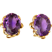 Vintage 37 cwt Amethyst earrings 14 k yellow gold