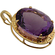 29 CT Amethyst pendant 14 k yellow gold