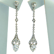 3.98 cwt diamond Art Deco platinum drop earrings circa 1920 s