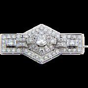 Art Deco brooch 3.10 cwt diamond platinum 950 circa 1925 s