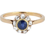 Antique Victorian Sapphire rose-cut diamond cluster engagement ring 18 k yellow gold circa 1890 s