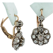 Antique Early Victorian rose-cut diamonds cluster drop earrings 18 k yellow gold ans silver circa 1830-1840