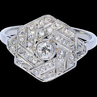 Art Deco diamond ring platinum 18 k white gold circa 1920 engagement ring / anniversary ring