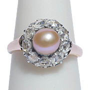 Antique ring diamond pearl 18 k pinkish gold Victorian circa 1880 s