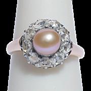 Antique ring diamond pearl 18 k pinkish gold Victorian circa 1880 s
