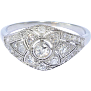 Art Deco diamond domed ring white gold 18 k platinum circa 1920 s