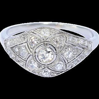 Art Deco diamond domed ring white gold 18 k platinum circa 1920 s