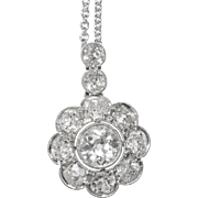Antique 2 cwt old European brilliant cut diamonds necklace platinum 18 k white gold circa 1915 s