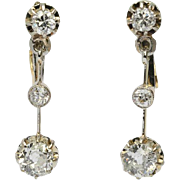 Antique 1.20 cwt diamonds long drop earrings 18 k yellow gold and platinum circa 1910