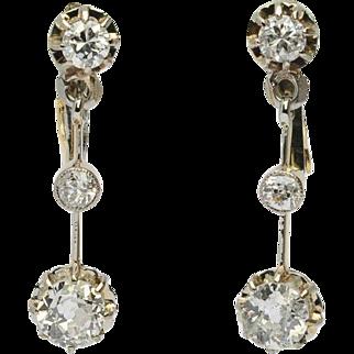 Antique 1.20 cwt diamonds long drop earrings 18 k yellow gold and platinum circa 1910