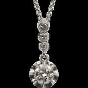 0.70 cwt Diamond necklace  platinum 18 k white gold circa 1915