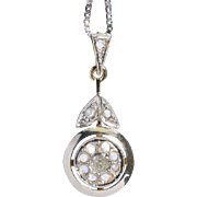 Art Deco diamonds pendant 18 k yellow gold and platinum top circa 1920 with an 18 k white gold chain