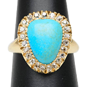 Antique ring Turquoise cabochon 0.46 cwt old mine-cut diamonds 18 k yellow gold circa 1880 s