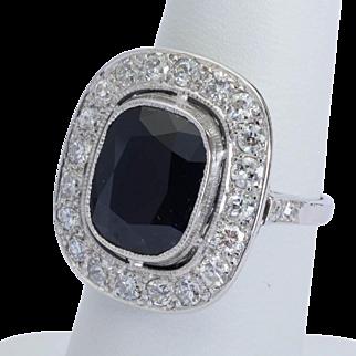 6.10 ct Sapphire and 1.10 cwt Diamonds platinum antique cluster ring Edwardian circa 1910 s