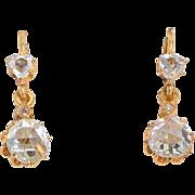 Antique Victorian rose-cut diamonds drop earrings 18 k yellow gold circa 1880 s