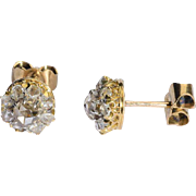 Antique Victorian rose-cut diamonds cluster earrings 18 k yellow gold and platinum circa 1890 s