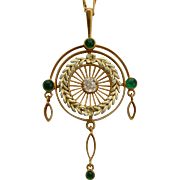 Antique Victorian diamond emeralds necklace 14 k yellow gold circa 1890