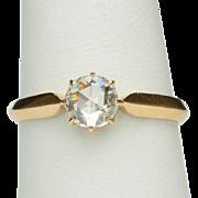 Antique 0.65 carat rose-cut diamond ring / Victorian engagement ring  circa 1890 yellow gold 18 k