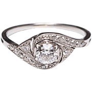 Antique Art Nouveau engagement ring 0.45 cwt  diamonds platinum circa 1910