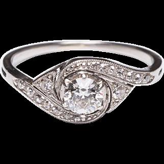 Antique Art Nouveau engagement ring 0.45 cwt  diamonds platinum circa 1910