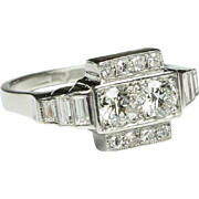 Art Deco 1.35 cwt diamonds engagement ring platinum 950 circa 1930 s
