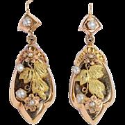Antique Victorian drop earrings 18 k gold circa 1880 s