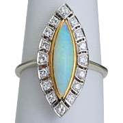 Vintage opal and diamonds ring 14 k white gold circa 1960 s