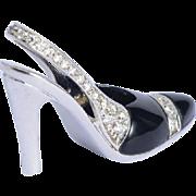 Estate high heel shoe pendant diamond onyx white gold 18 k with its original chain