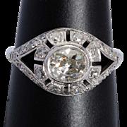Antique 1.95 cwt diamond engagement ring platinum 900 circa 1915
