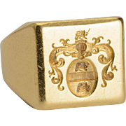 Antique signet ring family crests coat of arms 18 k yellow gold 9.2 gram circa 1900 s