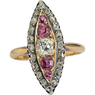 Antique diamond pink sapphire marquise shape ring 18 k yellow gold and silver Victorian circa 1880 s