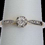 Antique Victorian diamond engagement ring 18 k yellow gold platinum top circa 1900 s