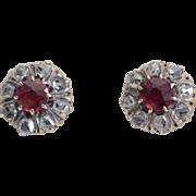 Antique diamond earrings 18 k yellow gold Victorian circa 1890 s