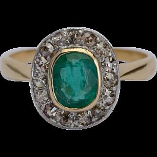 Antique Victorian Emerald old-cut diamonds cluster ring circa 1890
