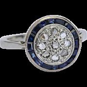 Art Deco target ring diamond sapphire 18 k white gold circa 1925